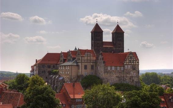 Fondos de pantalla viajes a Quedlinburg, Alemania lugar, casas, árboles, nubes