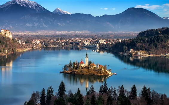 Wallpaper Radovljica, Slovenia, river, island, church, houses, mountains