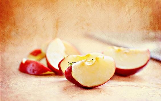 Papéis de Parede Fatia vermelha da maçã, frutas close-up