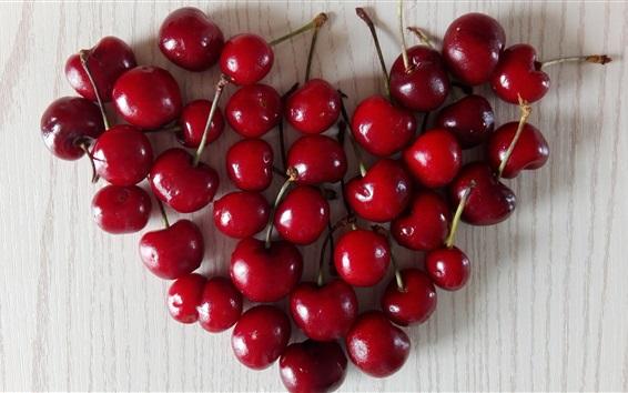 배경 화면 레드 체리, 사랑의 마음, 과일 확대