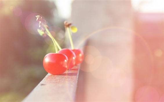 Wallpaper Red cherry, balcony, fruit, blurry, glare