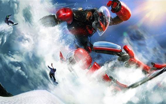 Wallpaper Robot snowboarding, snowboard, creative design