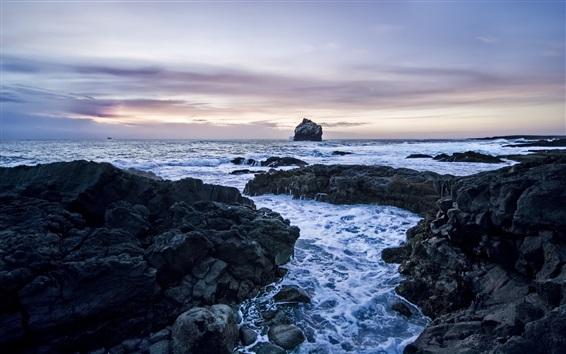 Wallpaper Rocks, sea, coast, dusk, clouds