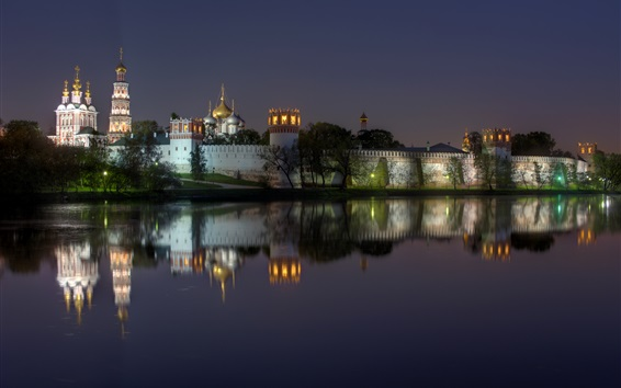 Wallpaper Russia, Moscow, Novodevichy Convent, monastery, night, lights, river