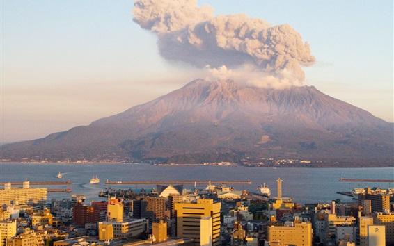 Wallpaper Sakurajima at sunset, smoke, volcano, Japan