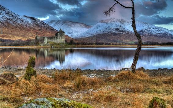 Wallpaper Scotland, Kilchurn Castle, ruins, lake, mountains, clouds