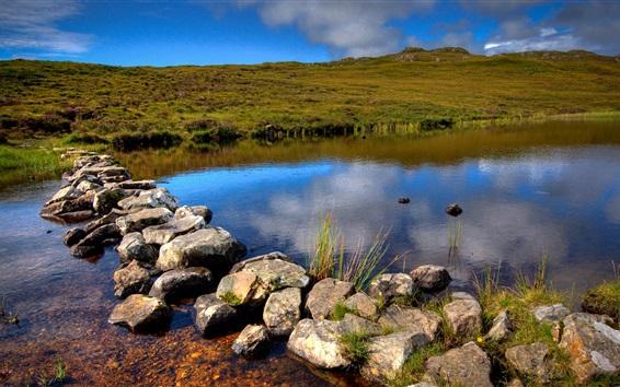 Обои Шотландия, закат, холмы, река, камни, облака