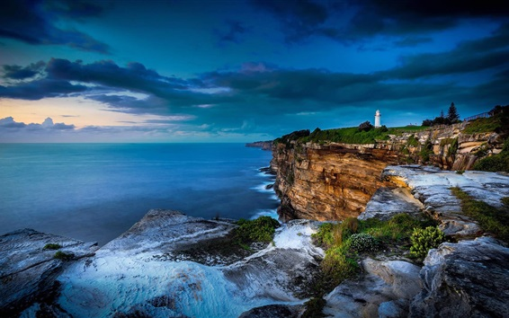 Wallpaper Sea, coast, cliff, clouds, lighthouse, dusk, Sydney, Australia