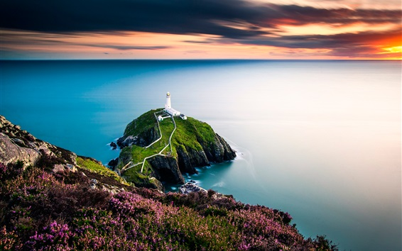 Обои Море, побережье, маяк, закат