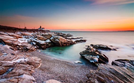 Fond d'écran Mer, côte, roches, phare, coucher de soleil