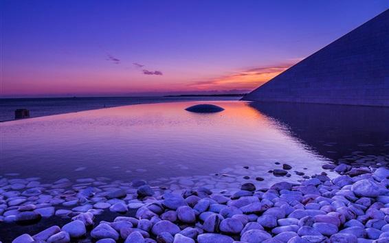 Обои Море, берег, камни, рассвет, вода отражение