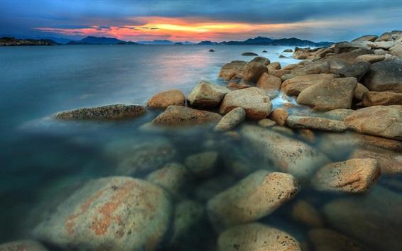 Обои Море, побережье, закат, скалы, облака, закат