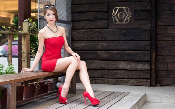 Papéis de Parede Vestido vermelho da menina asiática sexy, pernas longas, estilo de cabelo