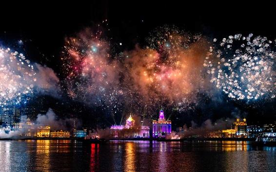 Fond d'écran Shanghai, la Chine, le port, feux d'artifice, belle nuit