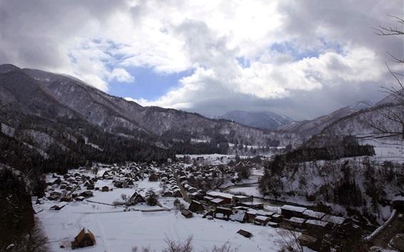 Papéis de Parede Shirakawago, Gassho-zukuri, inverno, neve espessa, viajar para o Japão