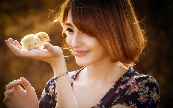 Wallpaper Short hair girl smile, chick on the hand
