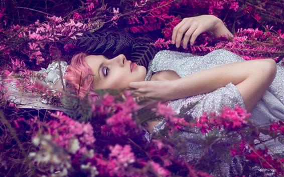 Wallpaper Silver dress girl lying grass