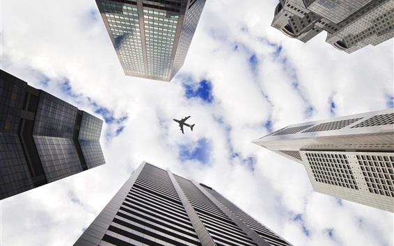 Wallpaper Skyscrapers, look up, plane, sky, clouds