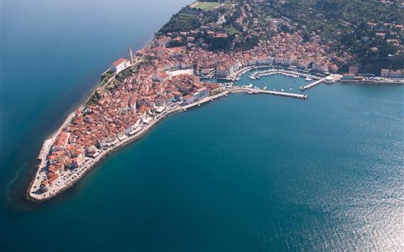 Обои Словения, Пиран, полуостров, здания, причал, вид сверху, на море