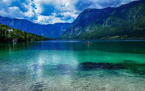 Papéis de Parede Eslovénia bela natureza, lago, montanhas, nuvens, barcos