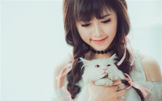 Papéis de Parede Sorriso menina asiática e gato branco