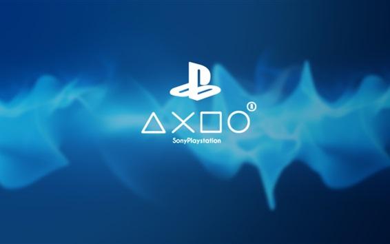 Papéis de Parede Sony Playstation logotipo jogo, fundo azul