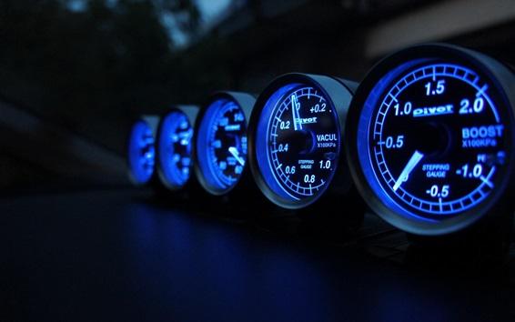 Wallpaper Speedometer, speed, miles, blue lights