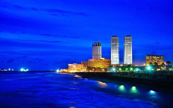 Fond d'écran Sri Lanka ville de la côte de nuit, gratte-ciel, lumières