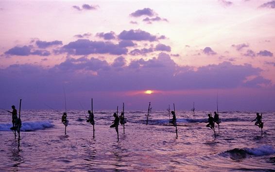 Wallpaper Sri Lanka, sea, dusk, people fishing