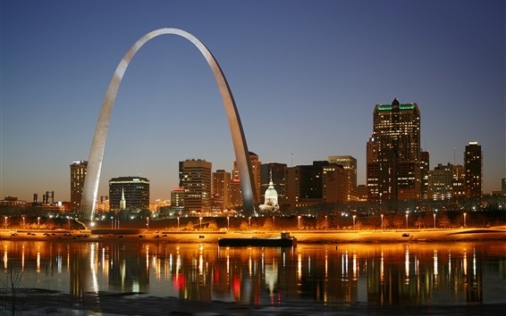 Wallpaper St. Louis, city night, Gateway Arch, houses, lights, river, America