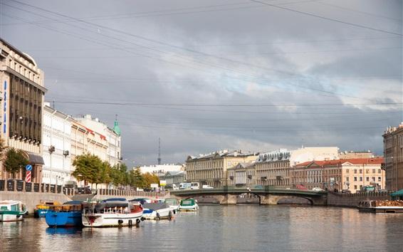 壁紙 サンクトペテルブルク、ロシア、都市、川、家