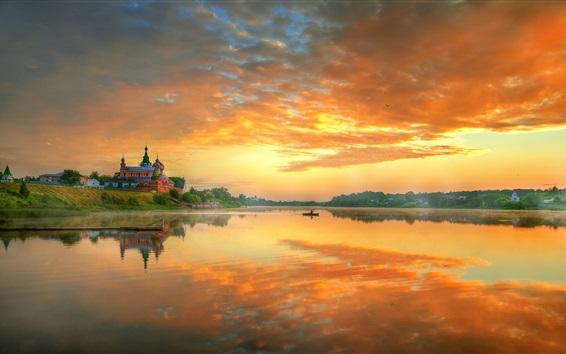 Wallpaper Staraya Ladoga, Russia, morning, sunrise, red sky, clouds, river