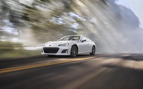 Fondos de pantalla Subaru BRZ velocidad del coche blanco