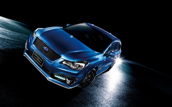 Wallpaper Subaru Impreza sport hybrid blue car at night