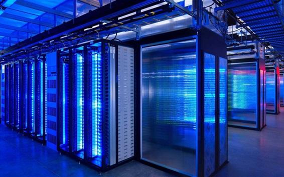 壁紙 スーパーコンピュータ、データセンター、青色光