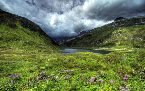 Fondos de pantalla Suiza, Oberalp lago, montañas, la pendiente, la hierba, las nubes