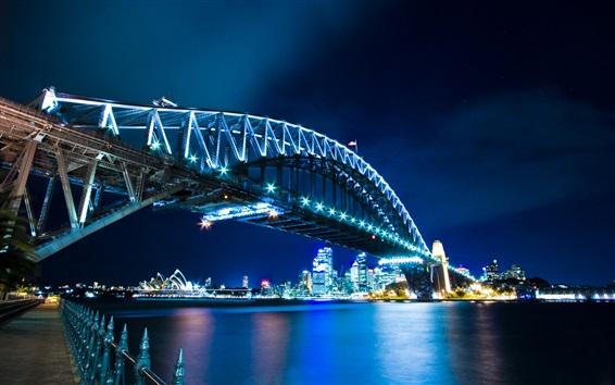 壁紙 夜、ブリッジ、ライト、高層ビル、水の反射でシドニー