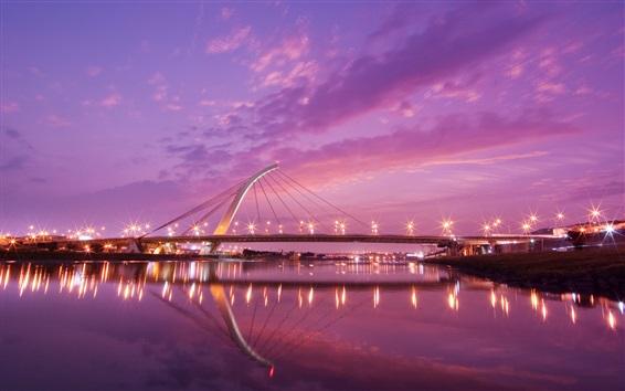 Wallpaper Taiwan, city night, bridge, river, lights