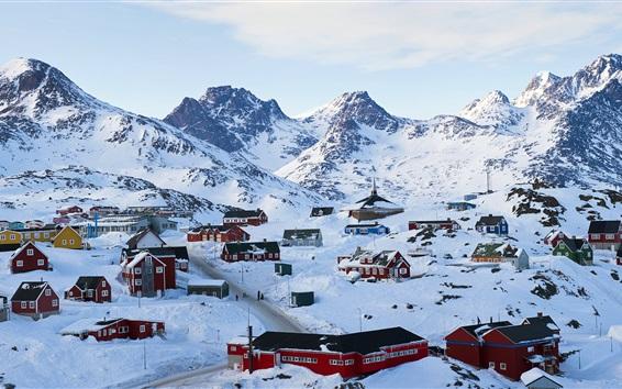 Fond d'écran Tasiilaq en hiver, le Groenland, les maisons, la neige épaisse