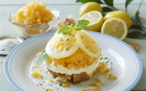 Fond d'écran un dessert savoureux, des tranches de citron, la crème, la nourriture délicieuse