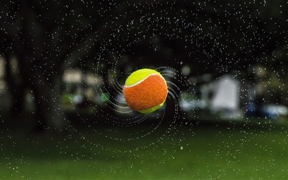 Wallpaper Tennis, ball, flight, water splash
