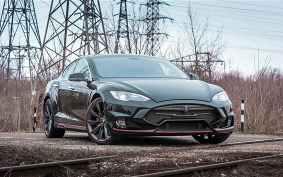 Обои Tesla Model S черный электрический автомобиль вид спереди