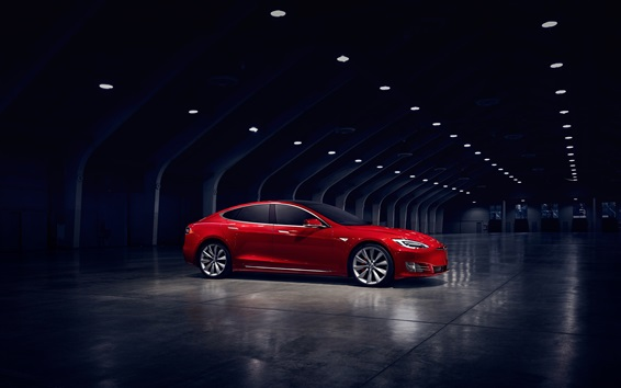 Fondos de pantalla Vista lateral del coche eléctrico Tesla Model S roja