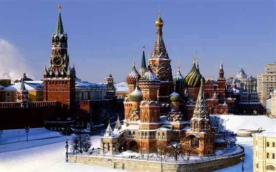 Wallpaper The Kremlin, Moscow, Russia, Basil's Cathedral, winter, snow