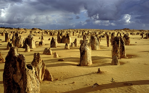 Wallpaper The Pinnacles, Nambung National Park, Western Australia, clouds
