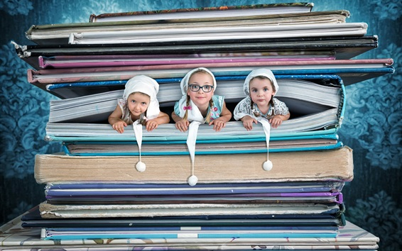 Wallpaper Three cute girls in book, creative pictures