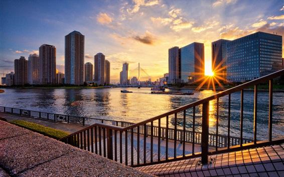 Wallpaper Tokyo, Japan, river, skyscrapers, bridge, sunset