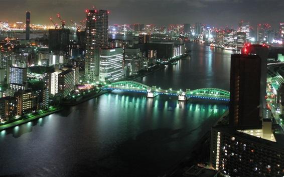 Wallpaper Tokyo city night, buildings, skyscrapers, river, bridge, lights, Japan
