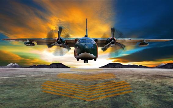 Fondos de pantalla El transporte, el despegue del avión, pista de aterrizaje, nubes, amanecer