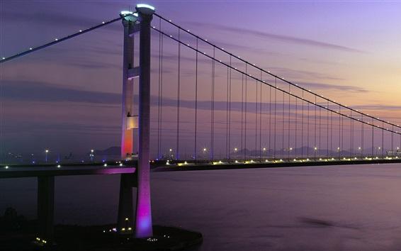 Fond d'écran Tsing Ma Bridge, Hong Kong, le coucher du soleil, les lumières, la baie